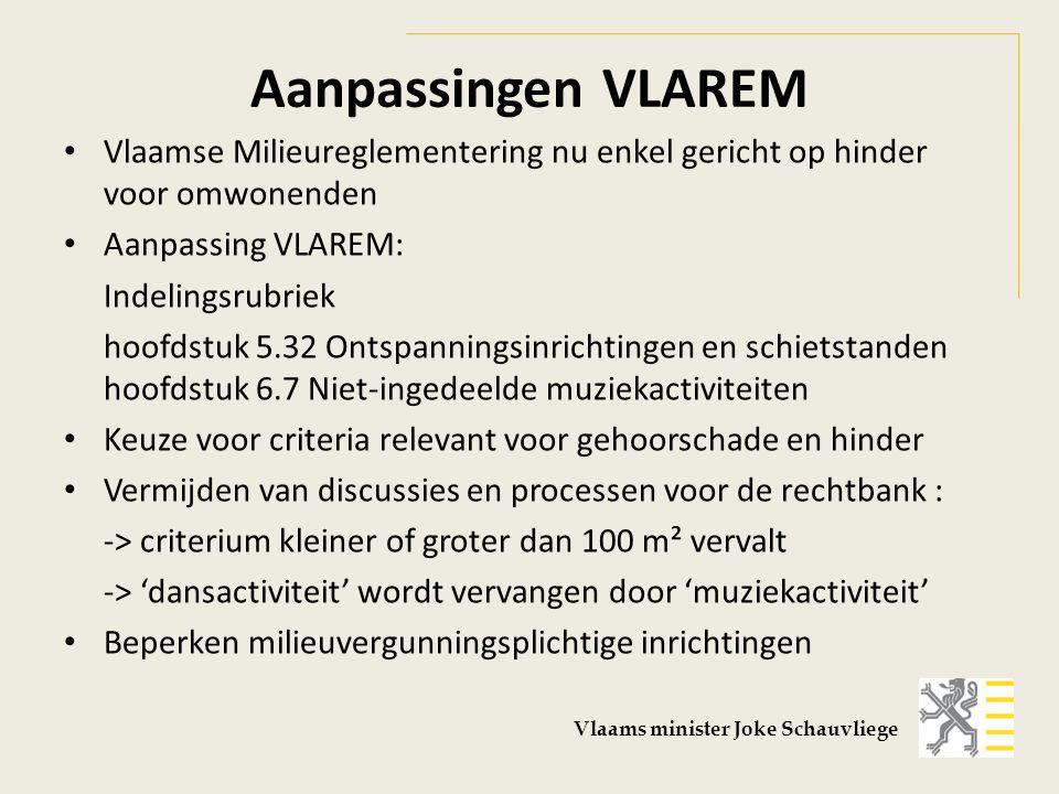 Aanpassingen VLAREM Vlaamse Milieureglementering nu enkel gericht op hinder voor omwonenden Aanpassing VLAREM: Indelingsrubriek hoofdstuk 5.32 Ontspan