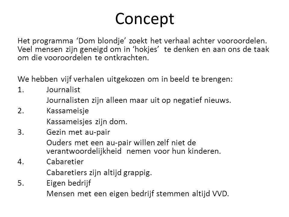 Concept Het programma 'Dom blondje' zoekt het verhaal achter vooroordelen. Veel mensen zijn geneigd om in 'hokjes' te denken en aan ons de taak om die