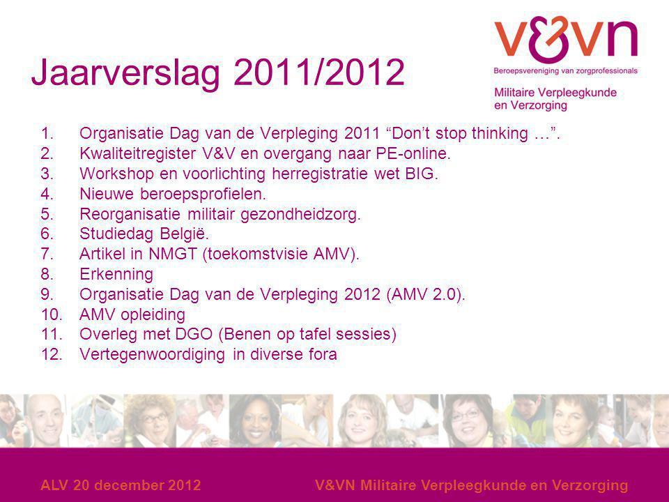 """ALV 20 december 2012V&VN Militaire Verpleegkunde en Verzorging Jaarverslag 2011/2012 1.Organisatie Dag van de Verpleging 2011 """"Don't stop thinking …""""."""
