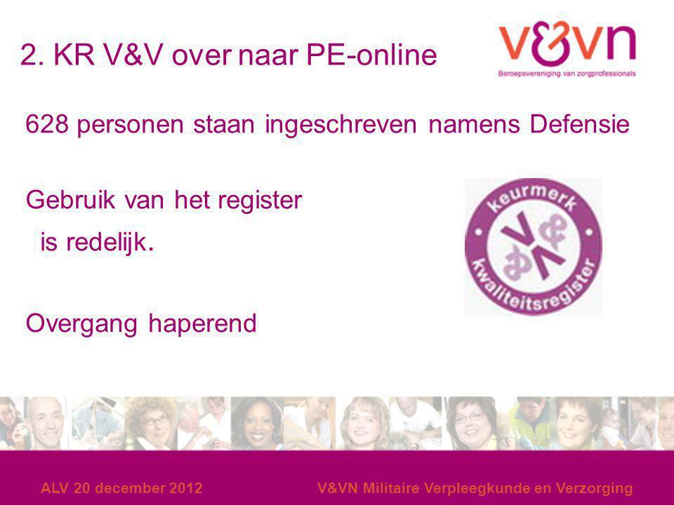 2. KR V&V over naar PE-online 628 personen staan ingeschreven namens Defensie Gebruik van het register is redelijk. Overgang haperend ALV 20 december