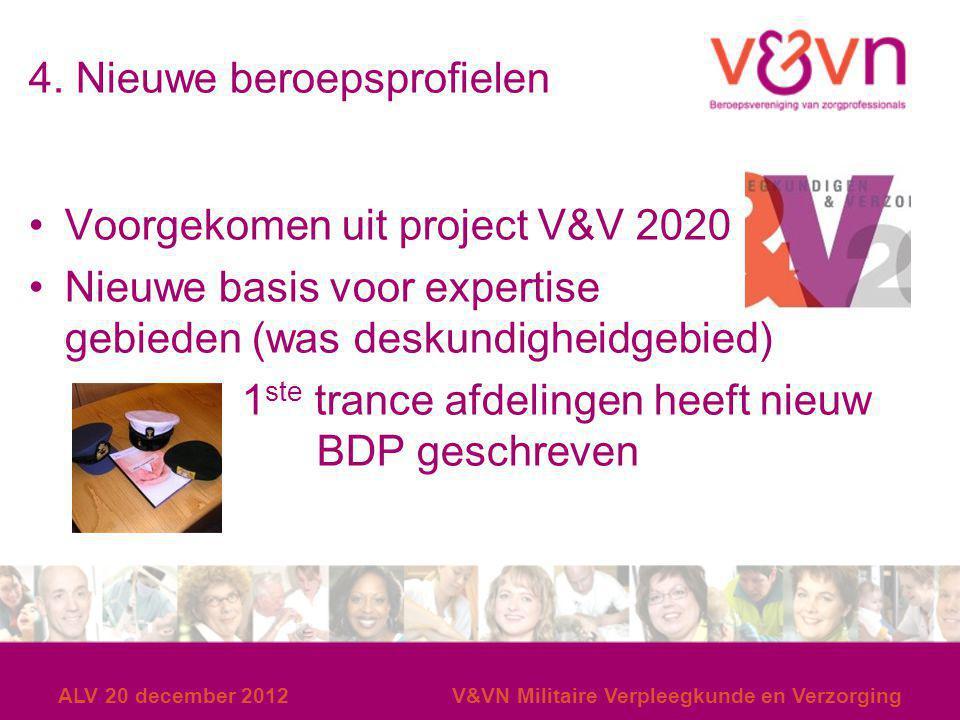 4. Nieuwe beroepsprofielen Voorgekomen uit project V&V 2020 Nieuwe basis voor expertise gebieden (was deskundigheidgebied) 1 ste trance afdelingen hee