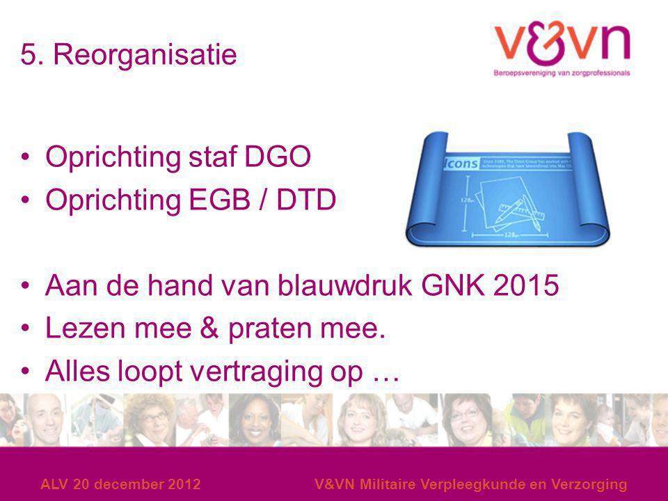 5. Reorganisatie Oprichting staf DGO Oprichting EGB / DTD Aan de hand van blauwdruk GNK 2015 Lezen mee & praten mee. Alles loopt vertraging op … ALV 2