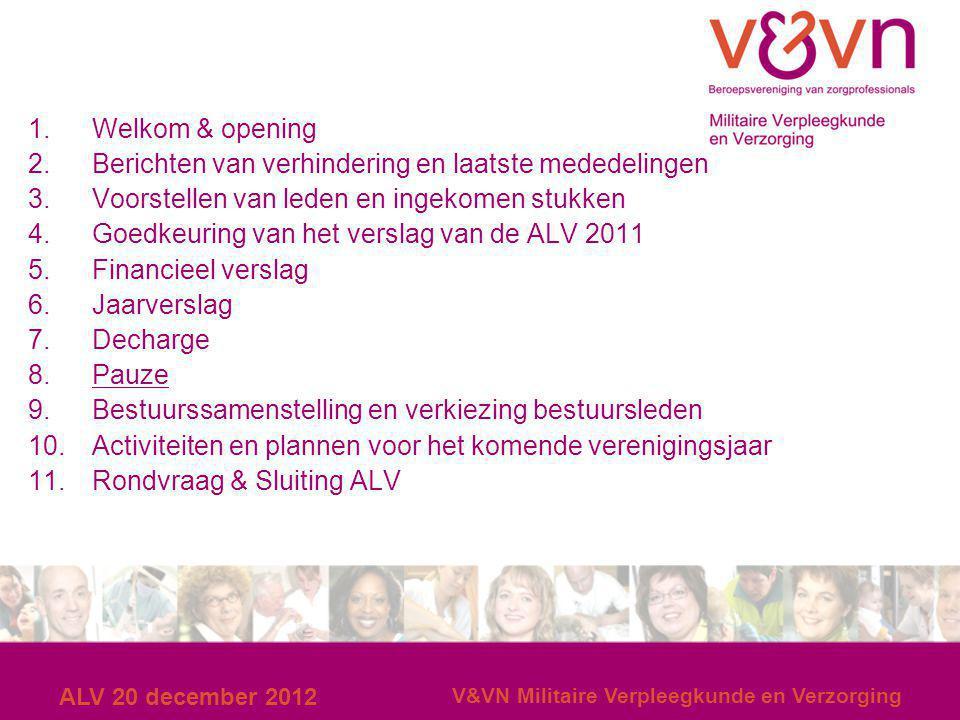 ALV 20 december 2012 V&VN Militaire Verpleegkunde en Verzorging 1.Welkom & opening 2.Berichten van verhindering en laatste mededelingen 3.Voorstellen