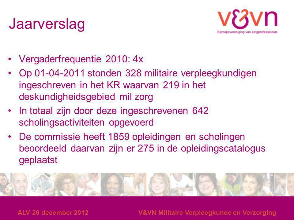 Jaarverslag Vergaderfrequentie 2010: 4x Op 01-04-2011 stonden 328 militaire verpleegkundigen ingeschreven in het KR waarvan 219 in het deskundigheidsg