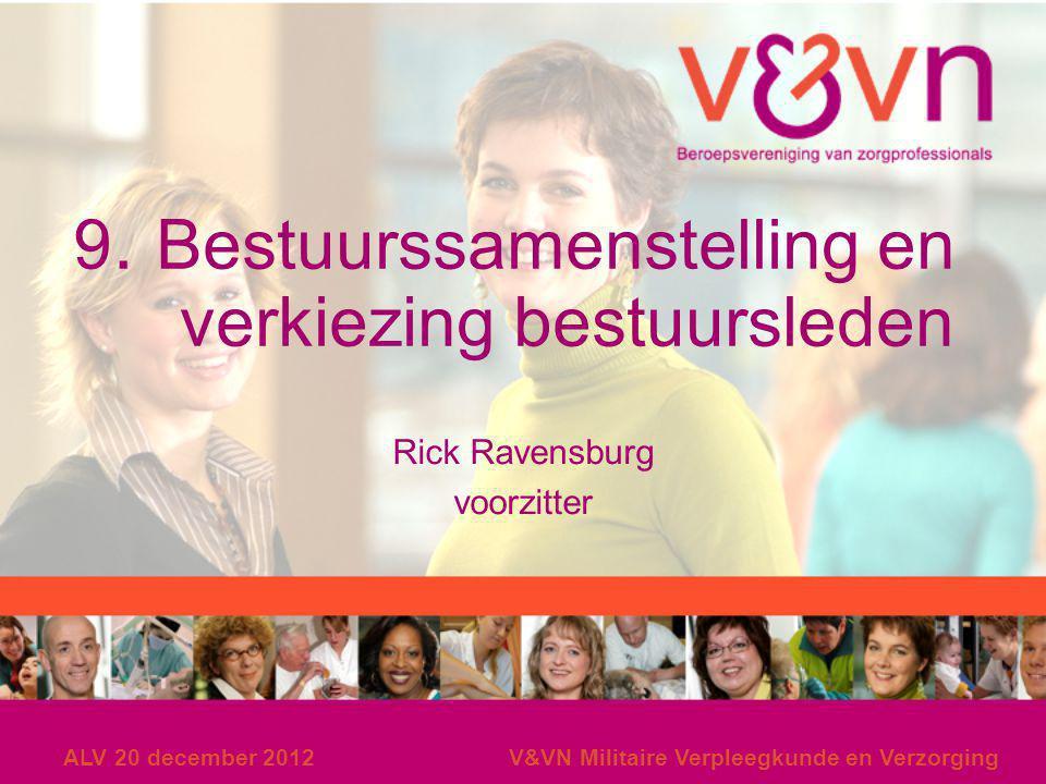 ALV 20 december 2012V&VN Militaire Verpleegkunde en Verzorging 9. Bestuurssamenstelling en verkiezing bestuursleden Rick Ravensburg voorzitter