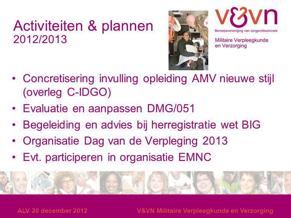 ALV 20 december 2012V&VN Militaire Verpleegkunde en Verzorging Activiteiten & plannen 2012/2013 Concretisering invulling opleiding AMV nieuwe stijl (o