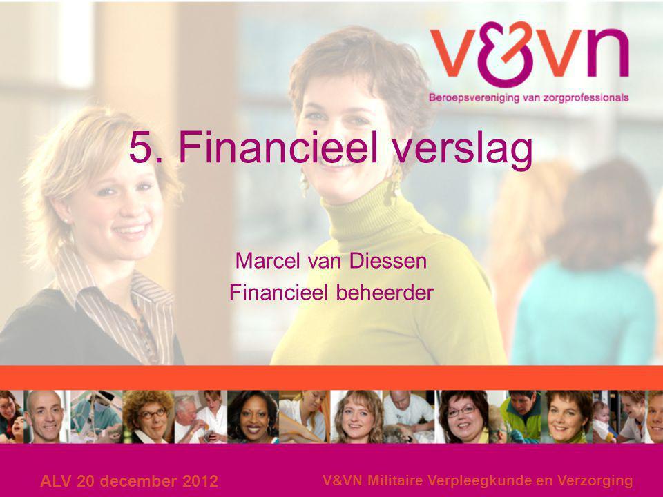 ALV 20 december 2012 V&VN Militaire Verpleegkunde en Verzorging 5. Financieel verslag Marcel van Diessen Financieel beheerder
