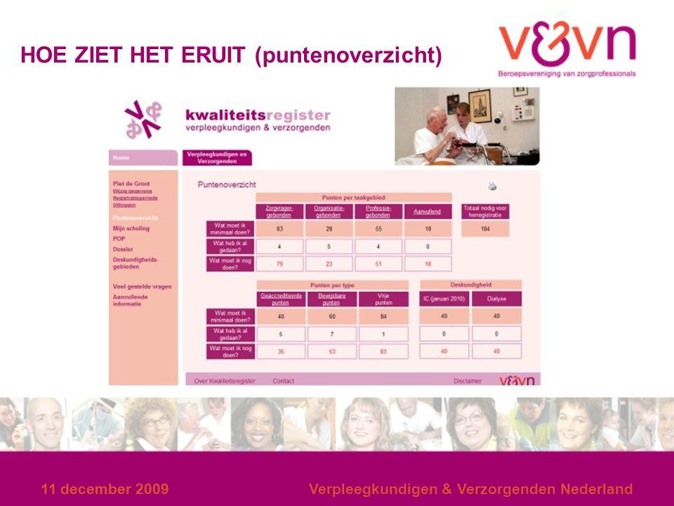 11 december 2009 HOE ZIET HET ERUIT (puntenoverzicht) 11 december 2009Verpleegkundigen & Verzorgenden Nederland