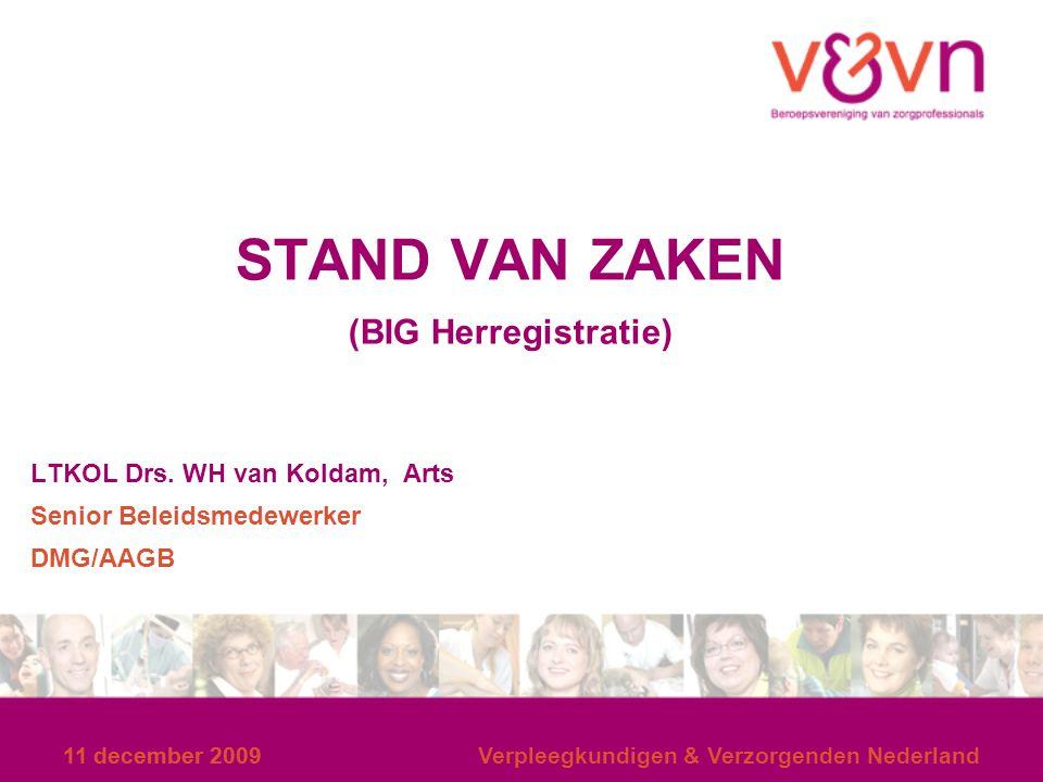 11 december 2009 Verpleegkundigen & Verzorgenden Nederland STAND VAN ZAKEN (BIG Herregistratie) LTKOL Drs. WH van Koldam, Arts Senior Beleidsmedewerke