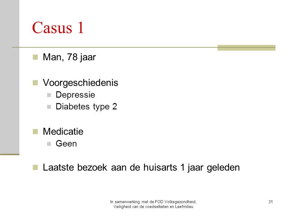In samenwerking met de FOD Volksgezondheid, Veiligheid van de voedselketen en Leefmilieu 31 Casus 1 Man, 78 jaar Voorgeschiedenis Depressie Diabetes t