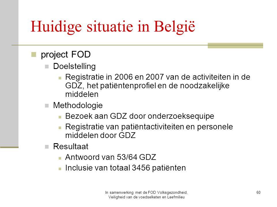 In samenwerking met de FOD Volksgezondheid, Veiligheid van de voedselketen en Leefmilieu 60 Huidige situatie in België project FOD Doelstelling Regist