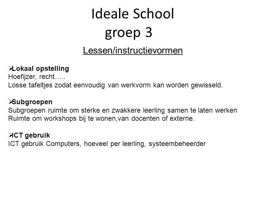 Ideale School groep 3 Lessen/instructievormen  Lokaal opstelling Hoefijzer, recht…..