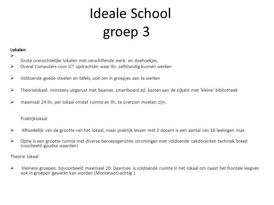Ideale School groep 3 Lokalen  Grote overzichtelijke lokalen met verschillende werk- en doehoekjes.
