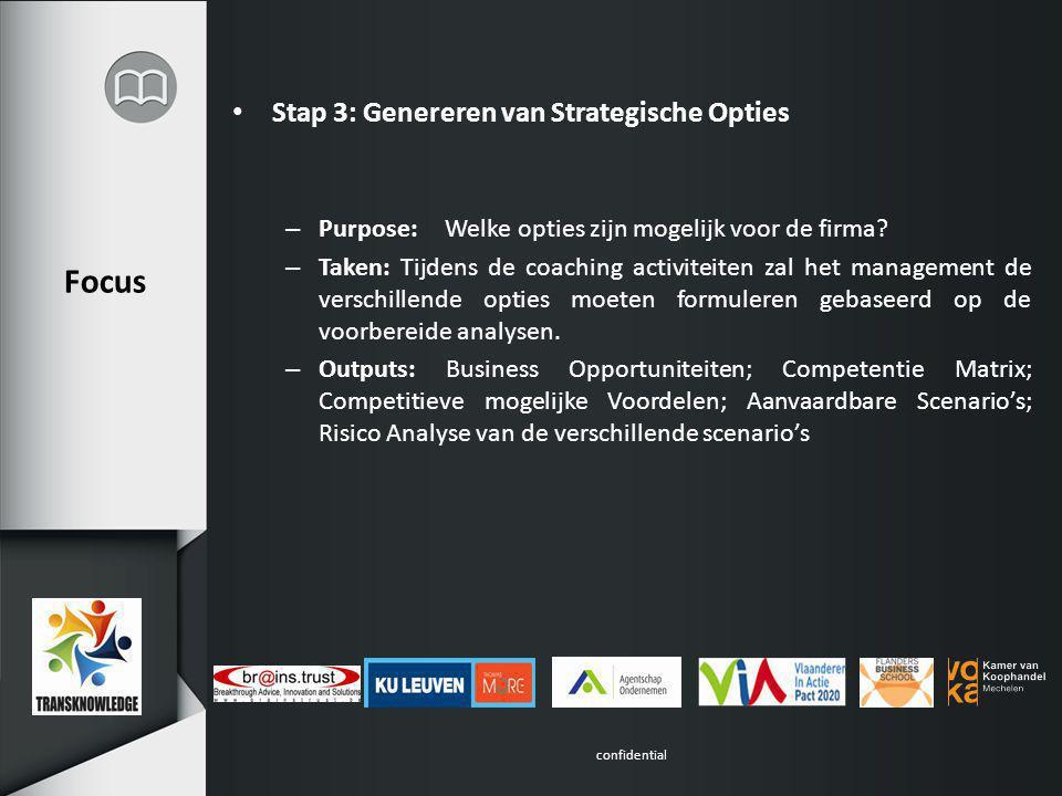 confidential Focus Stap 3: Genereren van Strategische Opties – Purpose:Welke opties zijn mogelijk voor de firma.