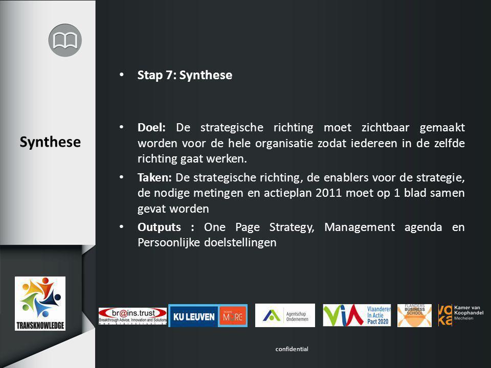 confidential Synthese Stap 7: Synthese Doel: De strategische richting moet zichtbaar gemaakt worden voor de hele organisatie zodat iedereen in de zelfde richting gaat werken.