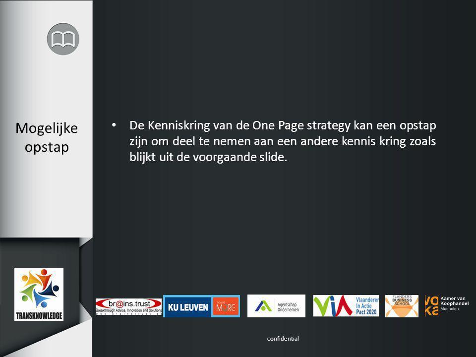 confidential Mogelijke opstap De Kenniskring van de One Page strategy kan een opstap zijn om deel te nemen aan een andere kennis kring zoals blijkt uit de voorgaande slide.