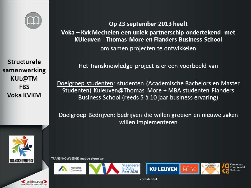 confidential TRANSKNOWLEDGE met de steun van Structurele samenwerking KUL@TM FBS Voka KVKM Op 23 september 2013 heeft Voka – Kvk Mechelen een uniek pa