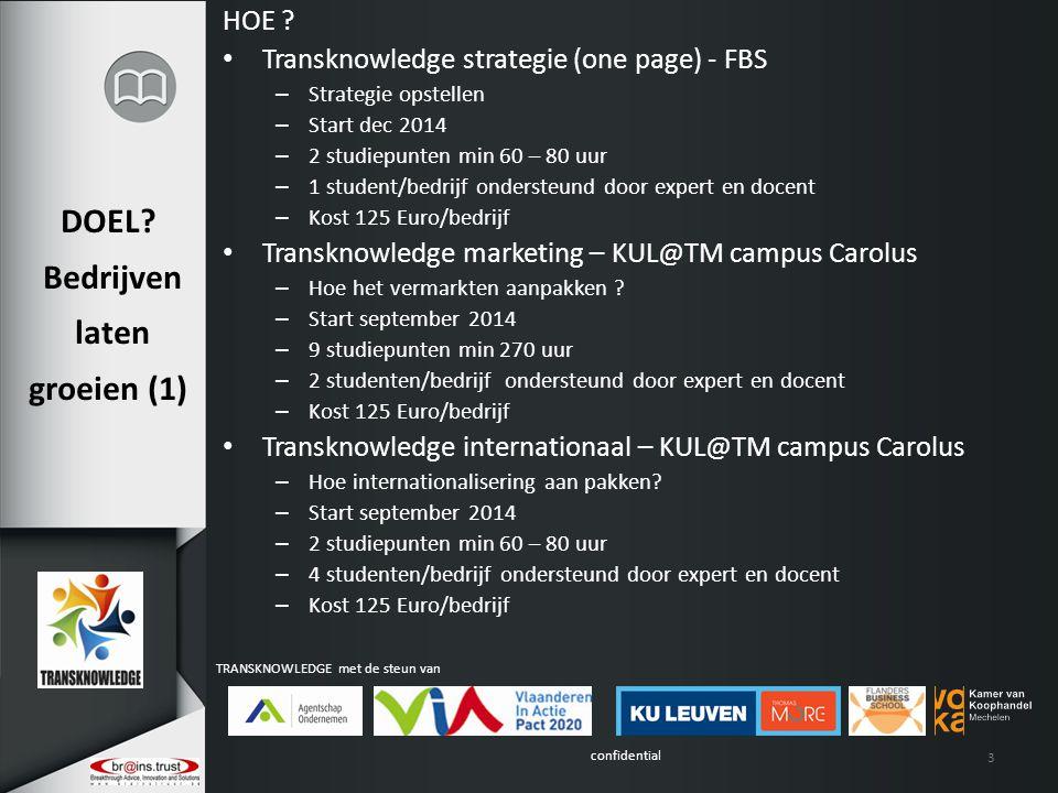confidential TRANSKNOWLEDGE met de steun van DOEL? Bedrijven laten groeien (1) HOE ? Transknowledge strategie (one page) - FBS – Strategie opstellen –