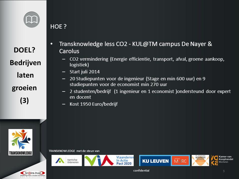 confidential TRANSKNOWLEDGE met de steun van DOEL? Bedrijven laten groeien (3) HOE ? Transknowledge less CO2 - KUL@TM campus De Nayer & Carolus – CO2