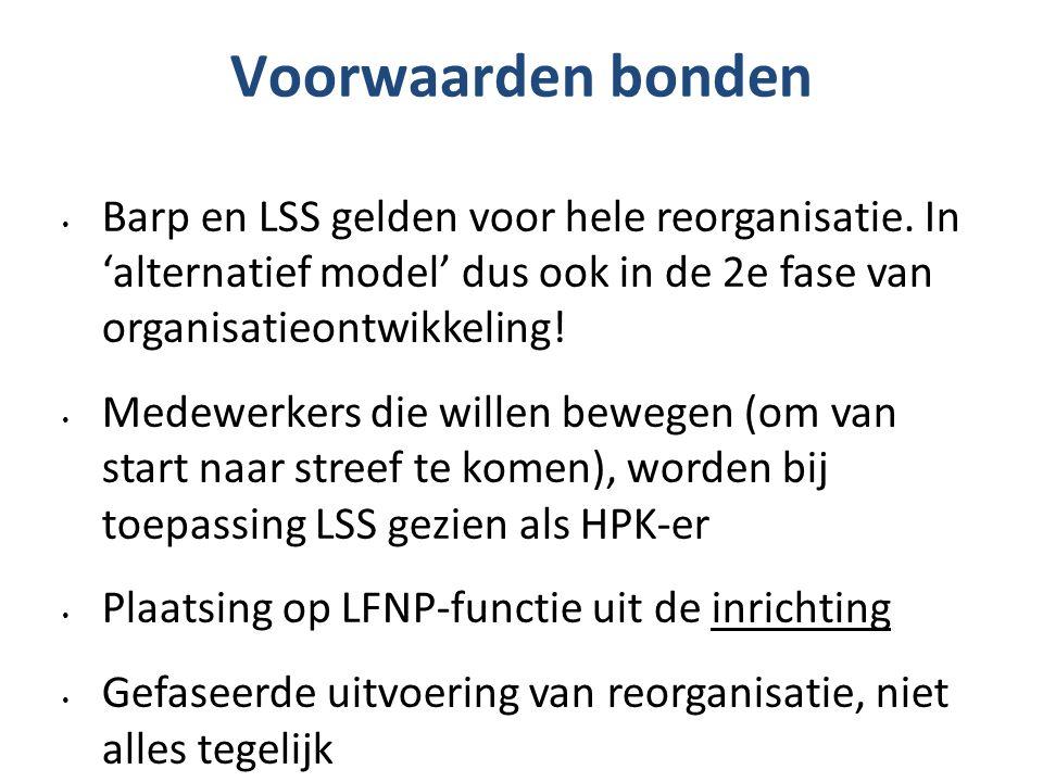 Voorwaarden bonden Barp en LSS gelden voor hele reorganisatie. In 'alternatief model' dus ook in de 2e fase van organisatieontwikkeling! Medewerkers d