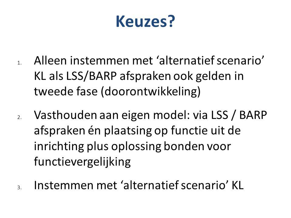 Keuzes? 1. Alleen instemmen met 'alternatief scenario' KL als LSS/BARP afspraken ook gelden in tweede fase (doorontwikkeling) 2. Vasthouden aan eigen