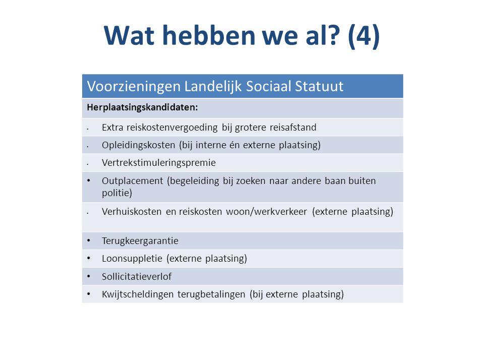 Wat hebben we al? (4) Voorzieningen Landelijk Sociaal Statuut Herplaatsingskandidaten: Extra reiskostenvergoeding bij grotere reisafstand Opleidingsko