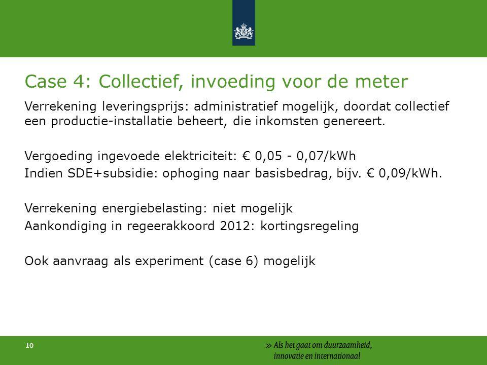10 Case 4: Collectief, invoeding voor de meter Verrekening leveringsprijs: administratief mogelijk, doordat collectief een productie-installatie beheert, die inkomsten genereert.
