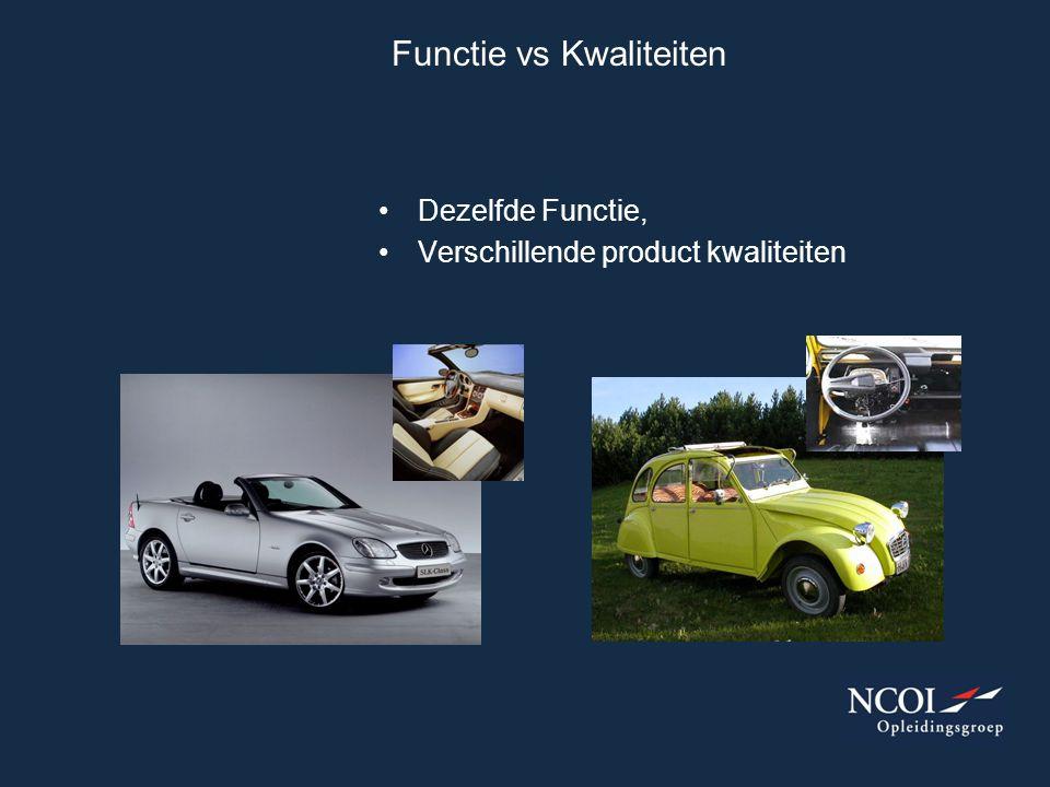 Functie vs Kwaliteiten Dezelfde Functie, Verschillende product kwaliteiten