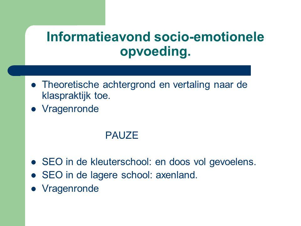 Informatieavond socio-emotionele opvoeding.