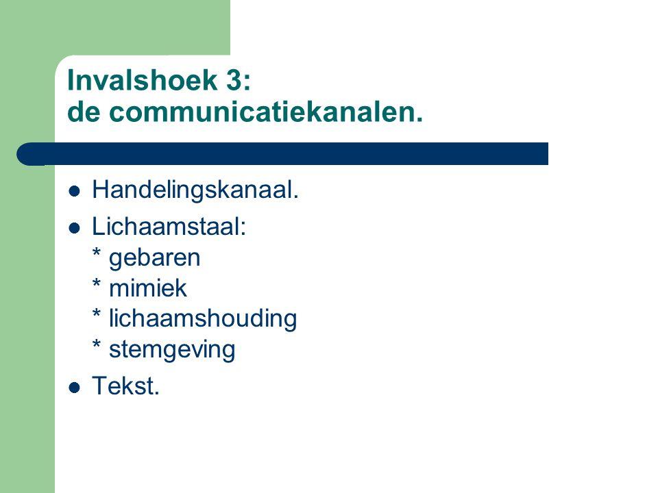 Invalshoek 3: de communicatiekanalen. Handelingskanaal. Lichaamstaal: * gebaren * mimiek * lichaamshouding * stemgeving Tekst.