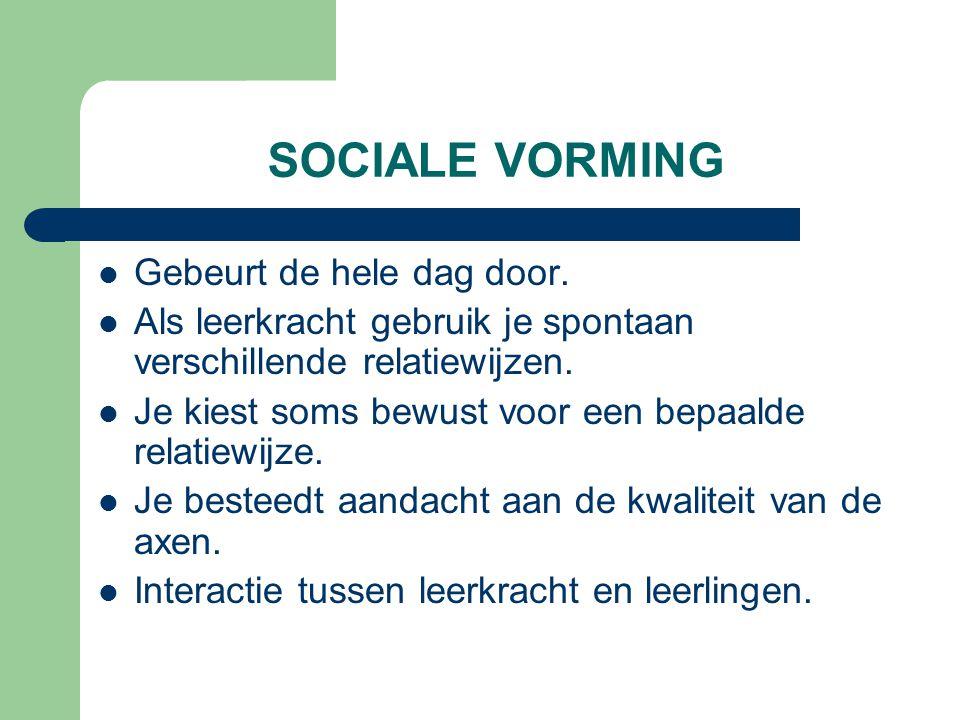 SOCIALE VORMING Gebeurt de hele dag door. Als leerkracht gebruik je spontaan verschillende relatiewijzen. Je kiest soms bewust voor een bepaalde relat