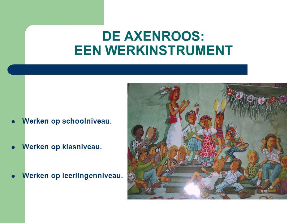 DE AXENROOS: EEN WERKINSTRUMENT Werken op schoolniveau. Werken op klasniveau. Werken op leerlingenniveau.