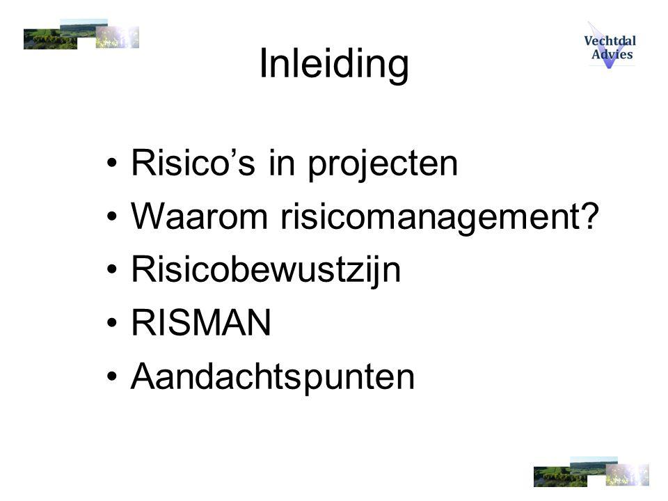 Inleiding Risico's in projecten Waarom risicomanagement? Risicobewustzijn RISMAN Aandachtspunten