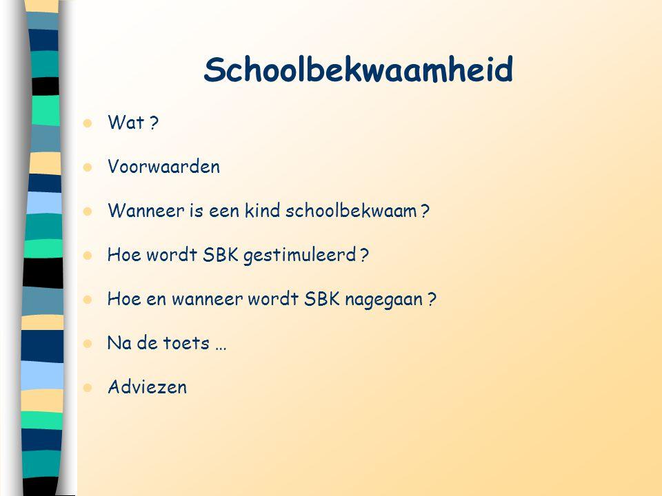 Schoolbekwaamheid Wat ? Voorwaarden Wanneer is een kind schoolbekwaam ? Hoe wordt SBK gestimuleerd ? Hoe en wanneer wordt SBK nagegaan ? Na de toets …