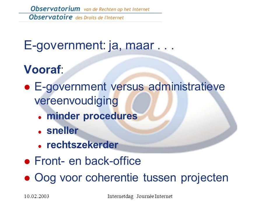 10.02.2003Internetdag Journée Internet Online openbare dienstverlening: België bezig aan inhaalbeweging