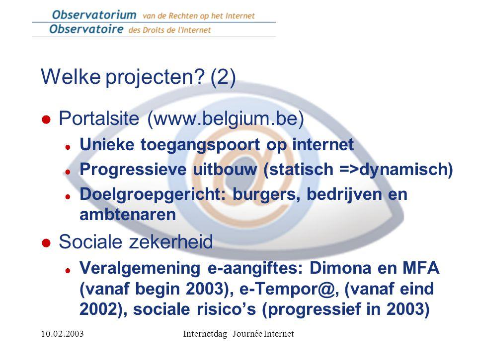 10.02.2003Internetdag Journée Internet Welke projecten.