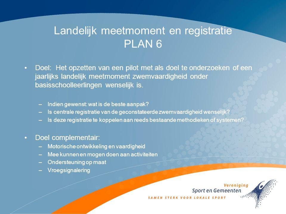 Landelijk meetmoment en registratie PLAN 6 Doel: Het opzetten van een pilot met als doel te onderzoeken of een jaarlijks landelijk meetmoment zwemvaardigheid onder basisschoolleerlingen wenselijk is.