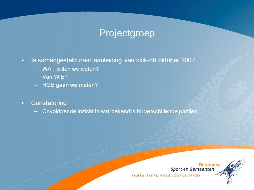 Projectgroep Is samengesteld naar aanleiding van kick-off oktober 2007 –WAT willen we weten.