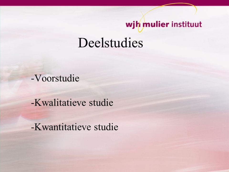 Deelstudies -Voorstudie -Kwalitatieve studie -Kwantitatieve studie
