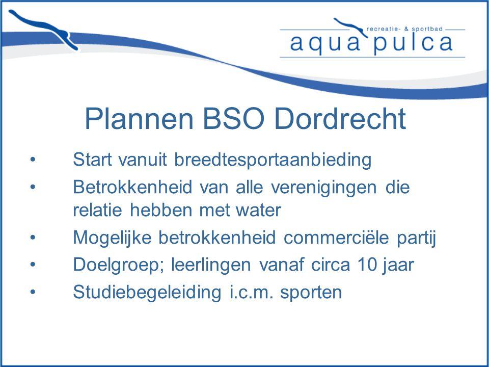 Plannen BSO Dordrecht Start vanuit breedtesportaanbieding Betrokkenheid van alle verenigingen die relatie hebben met water Mogelijke betrokkenheid commerciële partij Doelgroep; leerlingen vanaf circa 10 jaar Studiebegeleiding i.c.m.
