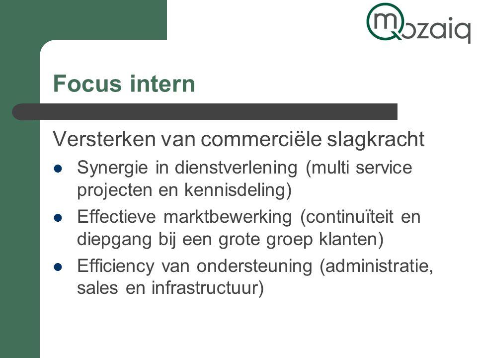 Focus intern Versterken van commerciële slagkracht Synergie in dienstverlening (multi service projecten en kennisdeling) Effectieve marktbewerking (continuïteit en diepgang bij een grote groep klanten) Efficiency van ondersteuning (administratie, sales en infrastructuur)