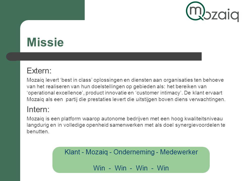 Missie Extern: Mozaiq levert 'best in class' oplossingen en diensten aan organisaties ten behoeve van het realiseren van hun doelstellingen op gebieden als: het bereiken van 'operational excellence', product innovatie en 'customer intimacy'.