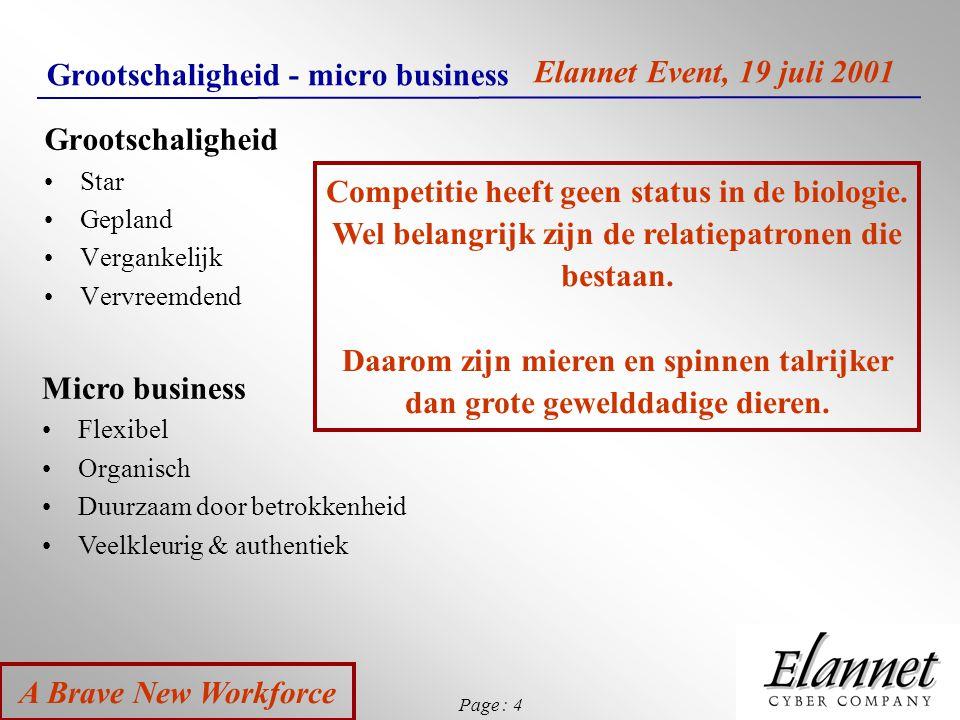 Page : 4 A Brave New Workforce Elannet Event, 19 juli 2001 Grootschaligheid - micro business Grootschaligheid Star Gepland Vergankelijk Vervreemdend M