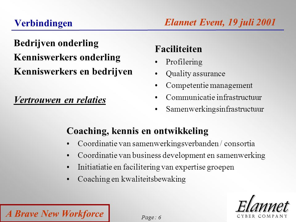Page : 7 A Brave New Workforce Elannet Event, 19 juli 2001 Vanavond Hugo Meijers: Weborg basics Online eWork Expert Plaza Rent a talent Community Mosaiq Blue Dome