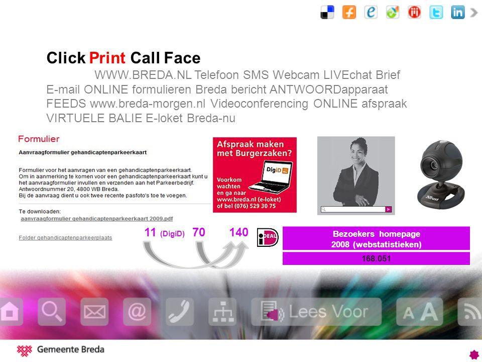 Click Print Call Face WWW.BREDA.NL Telefoon SMS Webcam LIVEchat Brief E-mail ONLINE formulieren Breda bericht ANTWOORDapparaat FEEDS www.breda-morgen.nl Videoconferencing ONLINE afspraak VIRTUELE BALIE E-loket Breda-nu 11 (DigiD) 70 140 Bezoekers homepage 2008 (webstatistieken) 168.051