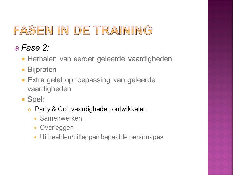  Fase 2:  Herhalen van eerder geleerde vaardigheden  Bijpraten  Extra gelet op toepassing van geleerde vaardigheden  Spel: 'Party & Co': vaardigh