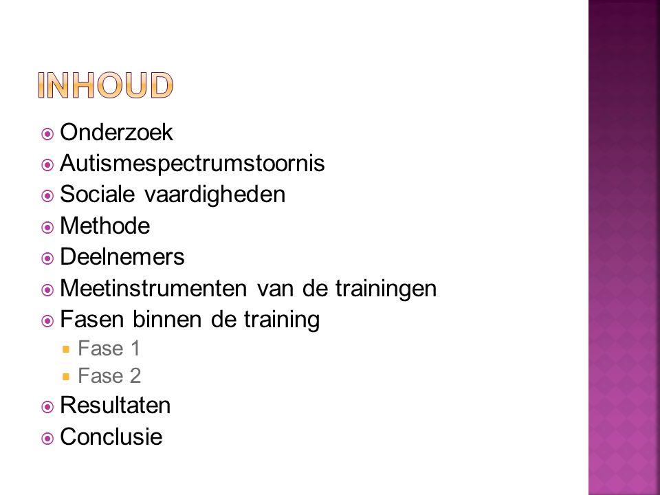  Onderzoek  Autismespectrumstoornis  Sociale vaardigheden  Methode  Deelnemers  Meetinstrumenten van de trainingen  Fasen binnen de training  Fase 1  Fase 2  Resultaten  Conclusie