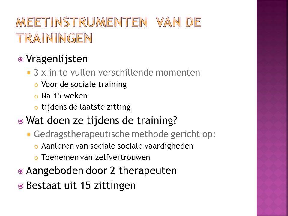  Vragenlijsten  3 x in te vullen verschillende momenten Voor de sociale training Na 15 weken tijdens de laatste zitting  Wat doen ze tijdens de training.