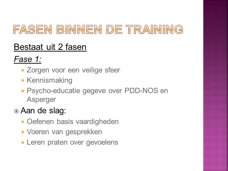 Bestaat uit 2 fasen Fase 1:  Zorgen voor een veilige sfeer  Kennismaking  Psycho-educatie gegeve over PDD-NOS en Asperger  Aan de slag:  Oefenen