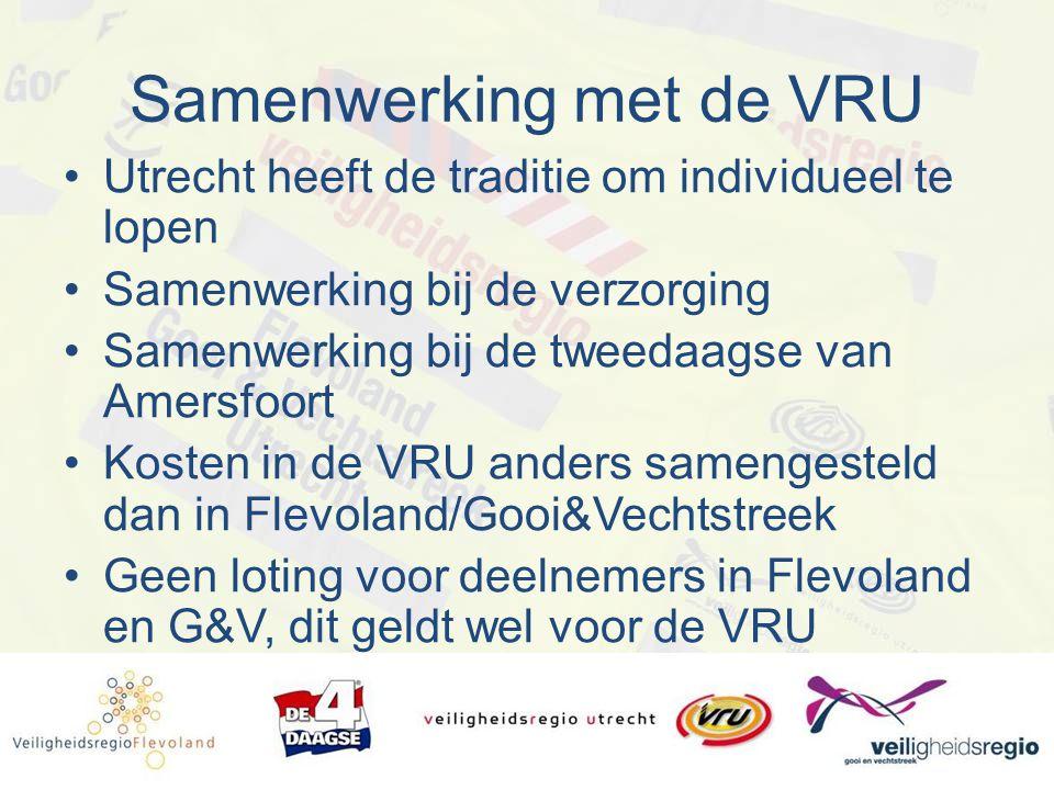 Samenwerking met de VRU Utrecht heeft de traditie om individueel te lopen Samenwerking bij de verzorging Samenwerking bij de tweedaagse van Amersfoort Kosten in de VRU anders samengesteld dan in Flevoland/Gooi&Vechtstreek Geen loting voor deelnemers in Flevoland en G&V, dit geldt wel voor de VRU